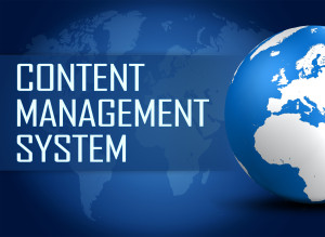 Content Management System concept with globe on blue world map background